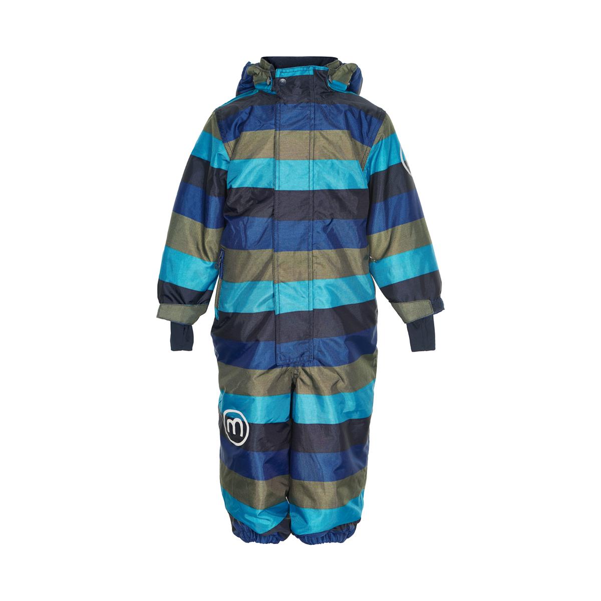 alt = Detský overal zimný s kapucňou pre chlapca modrá farba dánskej značky Minymo 160217_7350
